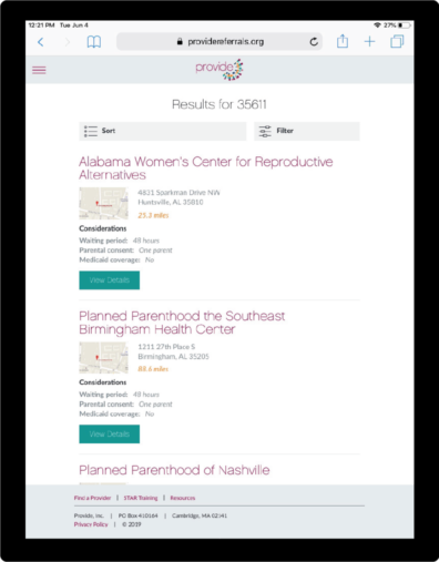 Referrals Tool Screenshot showing abortion clinic search results for zip code 35611